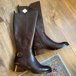 Cole Haan Hayes Brown Leather Tall Boot, Wide Calf